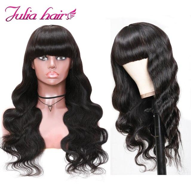 Malezyjski włosy typu Body Wave peruka z grzywką pełna maszyna wykonane peruki z włosów ludzkich Ali Julia Remy włosy peruka Body Wave peruka z grzywką|Pełne peruki maszynowe|   -