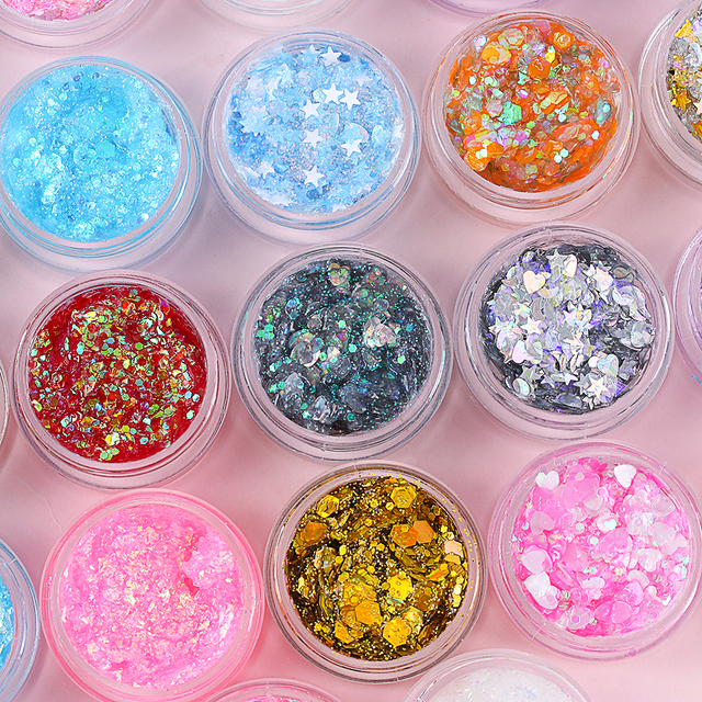 1Pcs Glitter Glam Eye Sparkly Glitter Hair Shimmer Gel Flash Heart Loose Sequins Glitter Eyeshadow Party Face Body Decoration 6