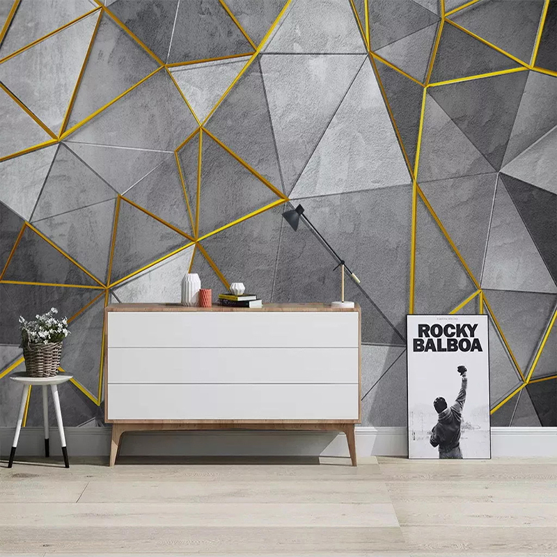 Custom Photo Wallpaper Modern Abstract Geometry Golden Line 3D Wall Mural Living Room Bedroom Nordic Style Home Decor Wall Paper
