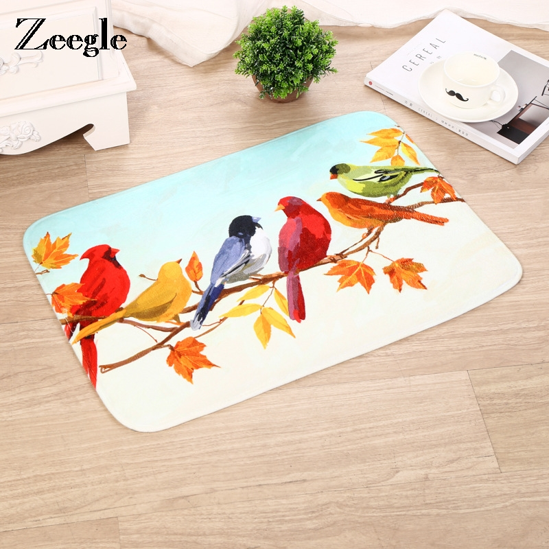 Zeegle Oriole Pattern Door Mats Outdoor Flannel Corridor Rugs Entrance Mats Anti-slip Mats For Bathroom Bedroom Bedside Carpet image