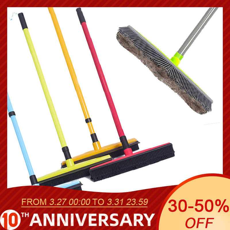 Adjustable Rubber Broom Hair Dust Scraper Pet Brush Carpet Cleaner Sweeper Wash Mop Floor Telescopic Wipe Window Cleaner(China)