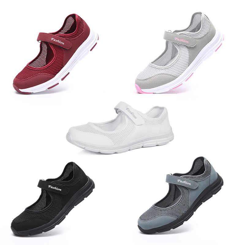 EOFK yeni yaz kadın Flats ayakkabı kadın düz Mary Jane kadın kadın file sutyen kumaş rahat konfor loafer ayakkabılar kadın Buty Damsk
