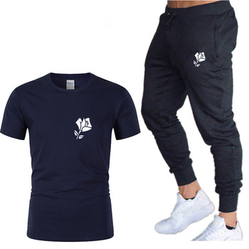 цена на New cotton short-sleeved T-shirt pants suit rose T-shirt men and women sportswear brand clothing summer two-piece sports casual