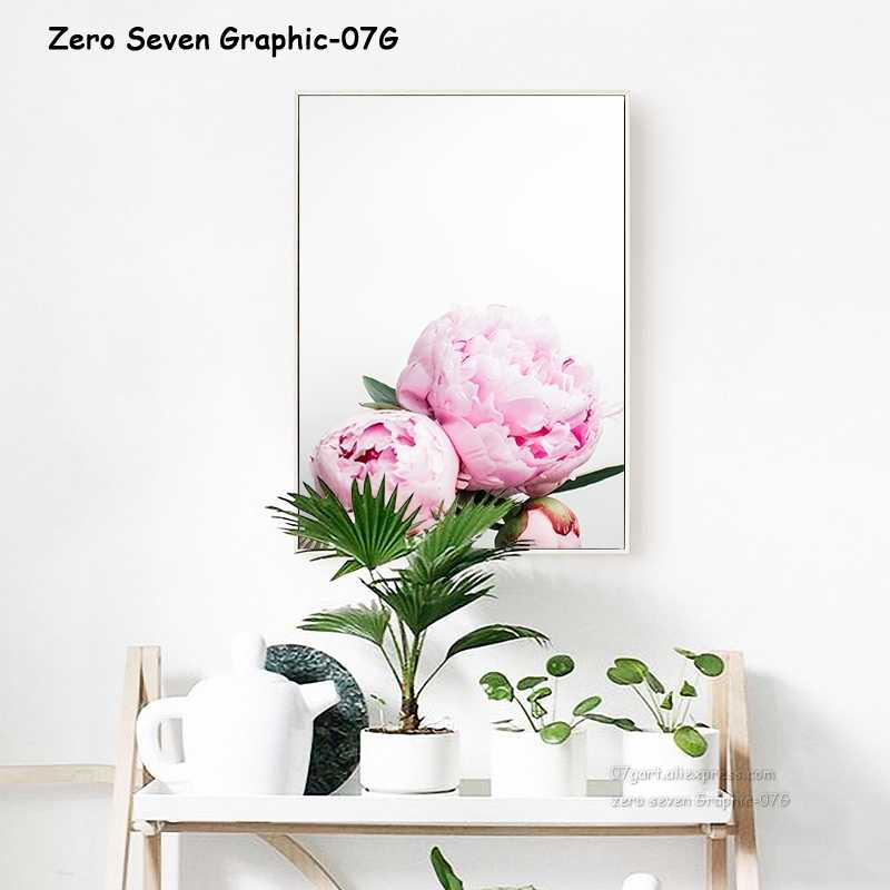 Картина на холсте, скандинавский декор, элегантный постер с цветами пиона и принтом, настенное художественное изображение для гостиной, украшение для дома