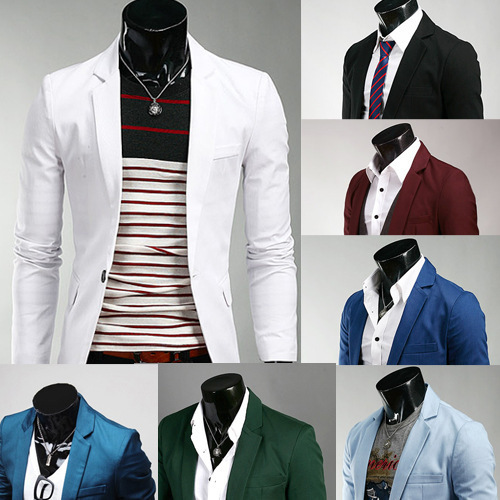 Men Korean-style Slim Fit Solid Color Small Suit 8-Color Selectable X01