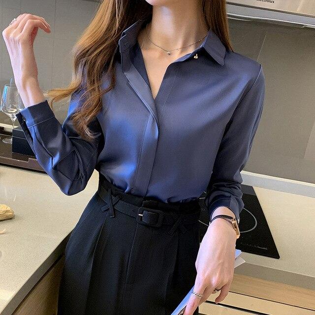 Silk Shirts Women White Shirt Women Long Sleeve Shirts Blouse Office Lady Satin Silk Blouse Tops Plus Size Woman Basic Shirt Top 2