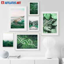 Green Forest Plants Leaves Sea Mountain Wall Art Canvas Painting Nordic Posters And Prints Wall Pictures For Living Room Decor цена и фото