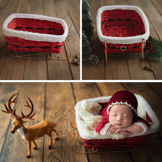 Newborn Baby Christmas Sleigh Photography Prop Red Hand-knitted Basket New Year Theme Baby Shoot Photo Studio New Accessory