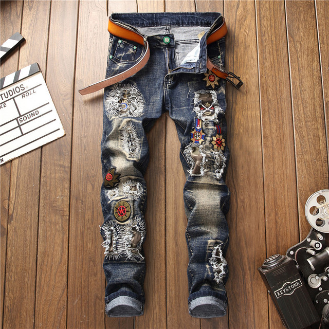 2019 AUTUMN Winter Men's Patchwork Ripped Embroidered Stretch Jeans Trendy Holes Straight Denim Trouers 35