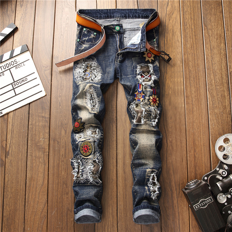 2019 AUTUMN Winter Men's Patchwork Ripped Embroidered Stretch   Jeans   Trendy Holes Straight Denim Trouers
