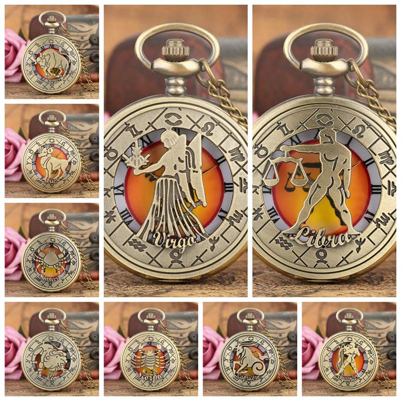 Retro Zodiac Pattern Pocket Watch Modern Necklace Chain Copper Twelve Constellation Pendant Birthday Clock Gifts For Men Women