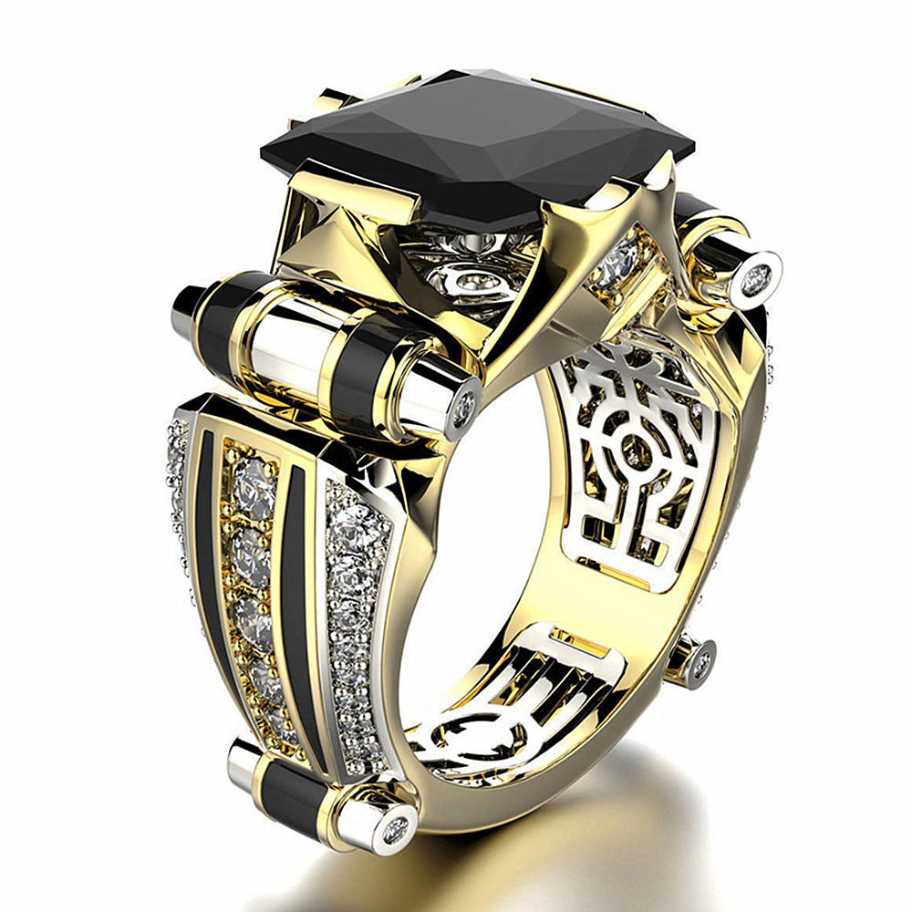 Vintage Black zircon diamonds gemstones rings for men gold color masculine jewelry bijoux bague cool party fashion accessories