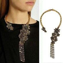 Винтажное этническое ожерелье, женское золотое ожерелье-чокер, женское этническое ожерелье, CZ Стразы, цветок, Длинная кисточка, большое массивное ожерелье