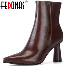 Winter Boots Woman Heels FEDONAS High-Hels Side-Zipper-Shoes Dancingnew Genuine-Leather