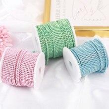 SS6 2mm 1 yard Pink /Green/Blue Opal Glass Rhinestone Cup Chain Glitter Crystal Rhinestone Trim For DIY Wedding Dress Decoration