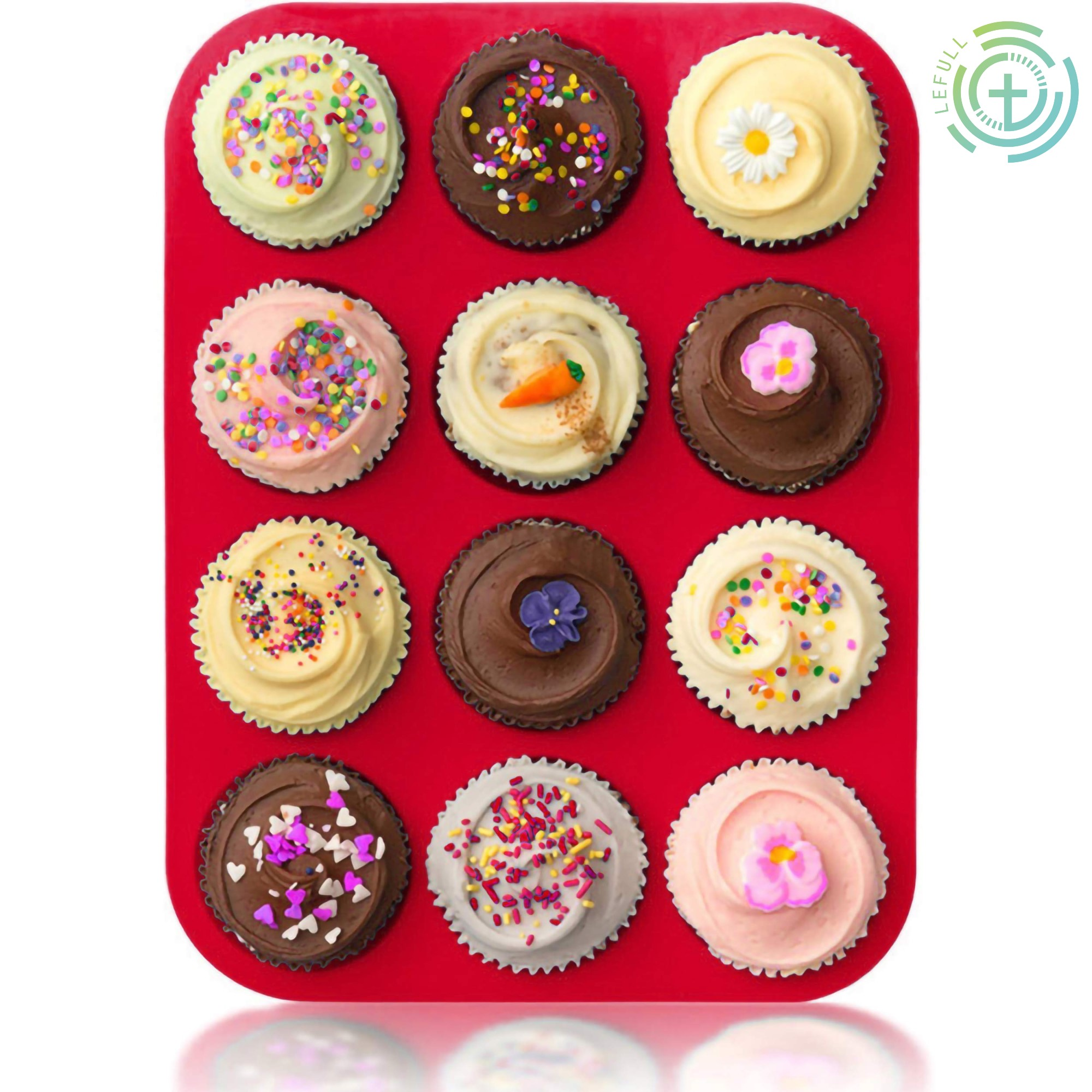 LeFull Thickened 12-Hole Cupcake Tray Round Silicone Cake Mold For Kitchen DIY Baking Tool Muffin Cup