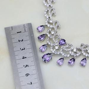Image 5 - מים זרוק סגול CZ לבן זירקון נשים כסף צבע כלה תכשיטי חתונה עגילי תליון שרשרת סטים