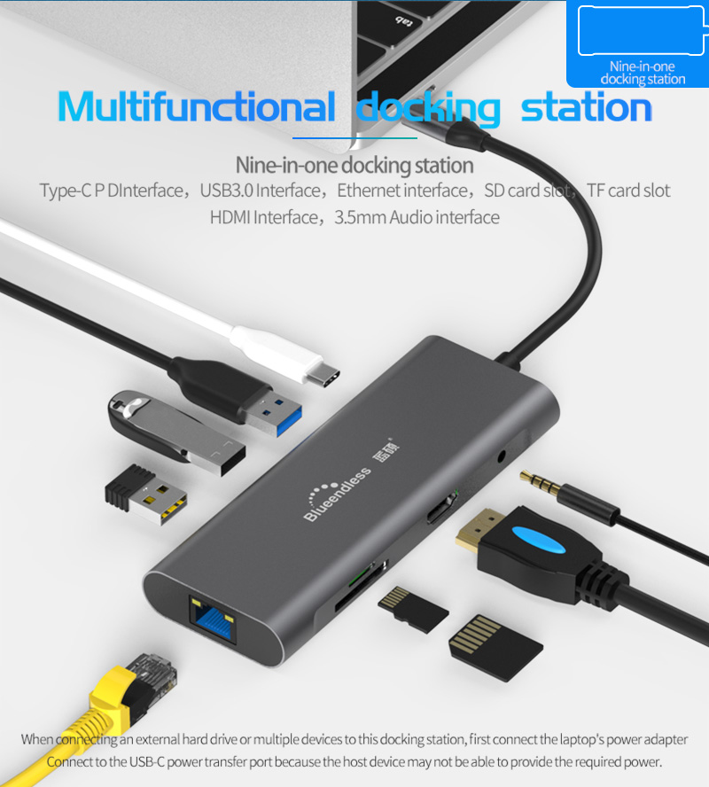 USB HUB C HUB To Multi USB 3.0 HDMI Adapter USB Splitter For MacBook Pro Dock Thunderbolt 3 HUB RJ45 Dual USB Type C HUB