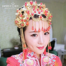 Factory Price Chinese Traditional Wedding Bride Costume Hairwear ,Long Tassel Red Pearl Hair Jewelry