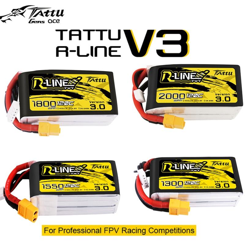 Tattu R-line Rline V3 3.0 120C 1050/1300/1550/1800/2000mAh 4S 5S 6S Lipo Battery Strap XT60 Plug FPV Racing Drone RC Quadcopter