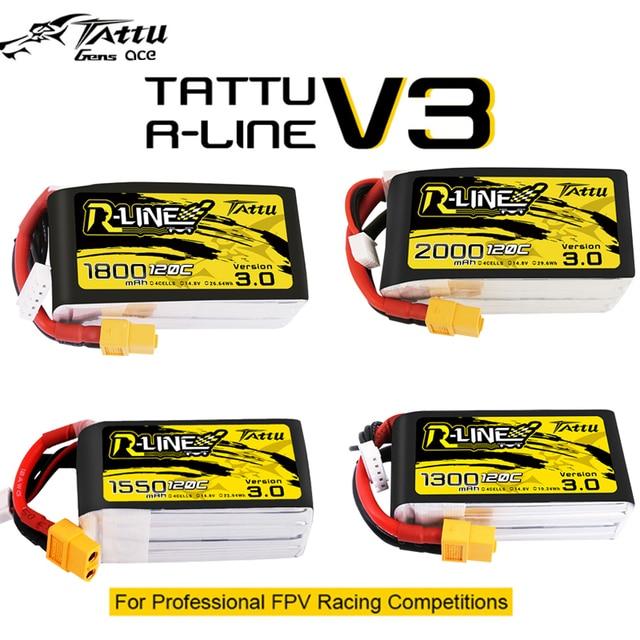 Tattu r line Rline V3 3.0 120C 1050/1300/1550/1800/2000mAh 4S 5S 6S bateria Lipo pasek XT60 wtyczka FPV Racing Drone zdalnie sterowany Quadcopter