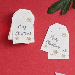 Image 3 - 100 pçs/lote etiqueta de papel de natal branco tag bagagem casamento nota em branco preço pendurar tag feliz natal presente cartão corda 6.8*4.5cm