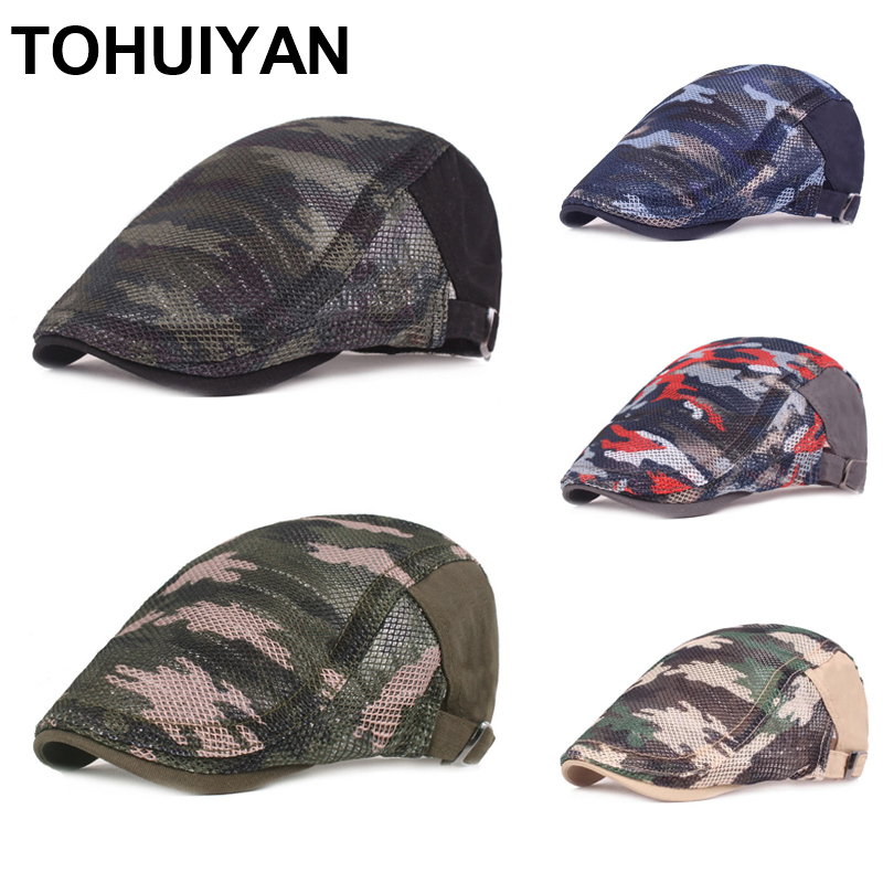 Top Level Camouflage Newsboy Cap Men Breathable Mesh Gatsby Hat Summer Sun Protection Beret Hats Boinas Flat Caps For Women
