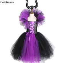 Maleficent zła królowa dziewczyny Tutu sukienka z rogami Halloween Cosplay strój czarownicy dla dziewczynek dzieci Party Dress odzież dla dzieci
