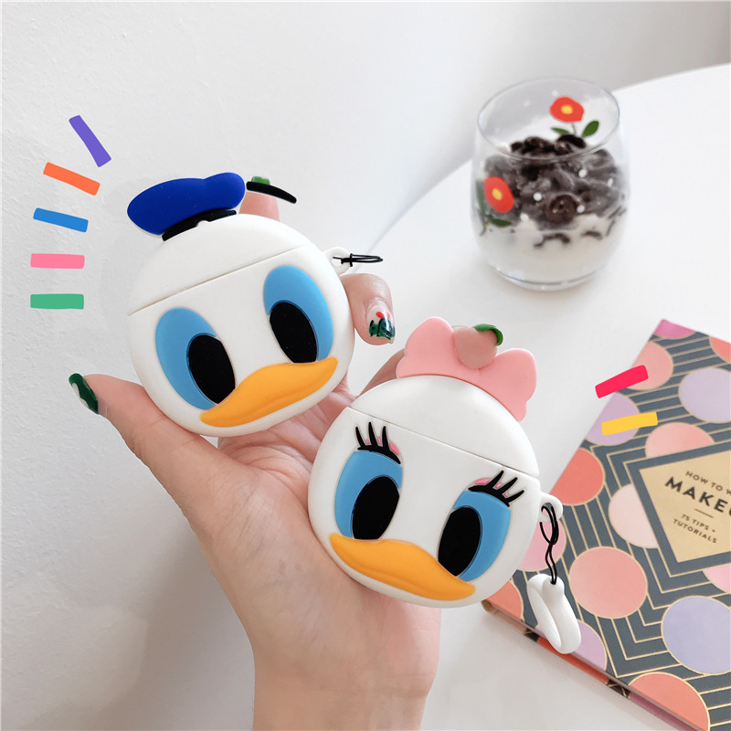 3D Cute Cartoon Donald Fauntleroy Daisy Duck Headphone Case For Apple Airpods 1/2 Silicone Protection Earphone Cover Accessories