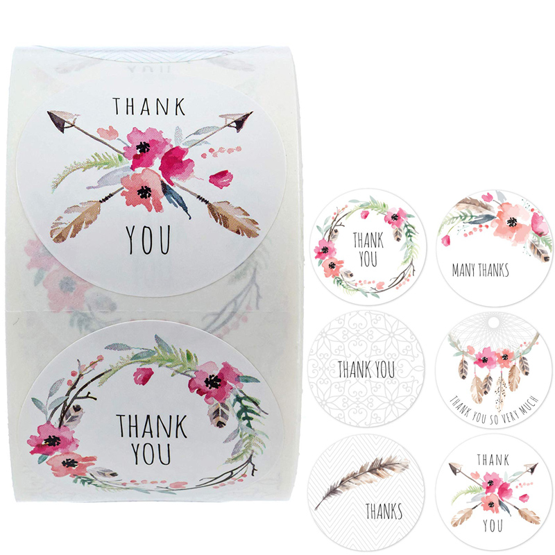 Boho Chic Thank You Stickers Seal Labels 6 Different Design Cute Scrapbooking Stickers Per Roll For Weddings Birthday's Showers