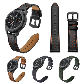 Leather Strap For Samsung Galaxy watch 46mm Gear S3 Frontier/Classic 22mm watch band Wrist Bracelet belt amazfit verge stainless steel strap for samsung galaxy watch band 46mm gear s3 frontier classic straps bracelet 22mm wrist replacement band