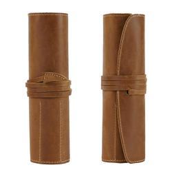 Школьный чехол для карандашей из натуральной кожи, чехол для карандашей в рулоне для девочек и мальчиков, сумка для ручек, круглая коробка д...