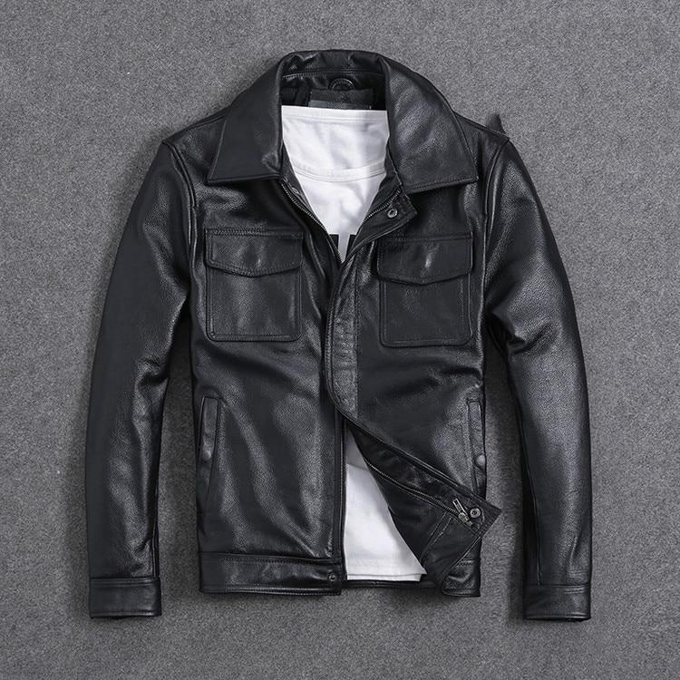 H40990245a4fc4045b0496c9a4b0c67e2L AYUNSUE Vintage Genuine Cow Leather Jacket Men Plus Size Cowhide Leather Coat Slim Short Jacket Veste Cuir Homme L-Z-14 YY1366