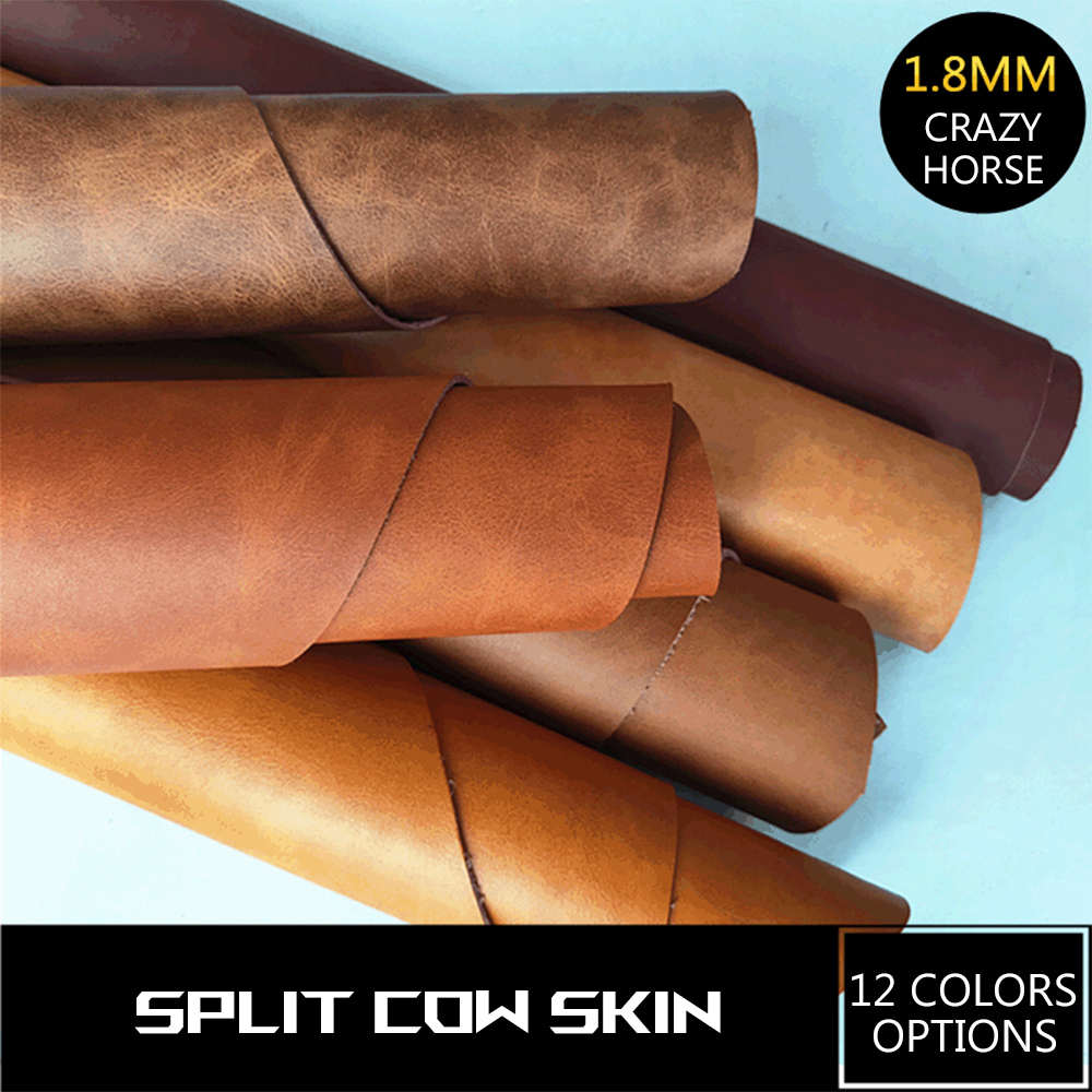 12 colors crazy horse natural skin for DIY leather 1.8 mm vegetable tanned genuine leather crazy horse leather for shoes skin image
