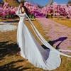 Luxury Red & White Chiffon Long Dress For Elegant Lady Gorgeous V-Neck Lanter Sleeve Floor Length Bohimian Beach Dresses Vestido 3