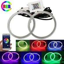 Автомобильные кольца COB RGB, 60 мм, 70 мм, 80 мм, 90 мм, 95 мм, 100 мм, 110 мм, 120 мм, светодиодсветодиодный кольца с ореолом, фары, автомобильные глаза ангел...