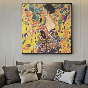 Gustav Klimt Paintings On The Wall Reproduction Portrait Of Adele Bloch Golden Wall Art Canvas Cuadros Pictures For Living Room image