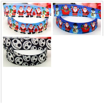 DHK 7/8'' 5yards christmas printed grosgrain Ribbon headwear hair bow diy party decoration OEM 22mm E1200 image