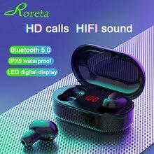 Roreta 新 TWS ハイファイミニステレオ Bluetooth イヤホンワイヤレスヘッドフォン Bluetooth 5.0 ノイズリダクションスポーツヘッドセット