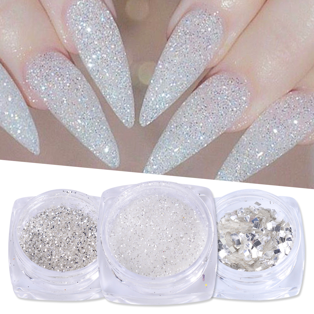 1g Nail Art Glitter Sequins 3D Gold Silver Hexagon Sequins Sparkly Flakies Rhinestone Sandy Powder Dust For Manicure JIS01-04