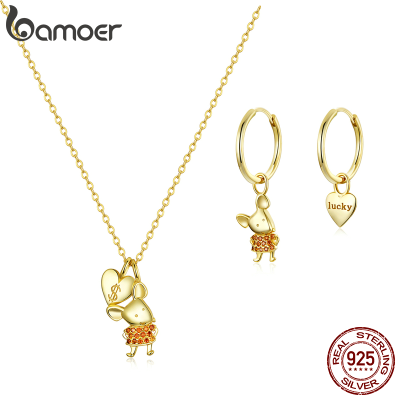bamoer GUS189 Golden Playful and Lovely Mouse Rat 925 Silver Set Women Gift Wedding Chain Necklace & Earrings Fine Jewelry Set