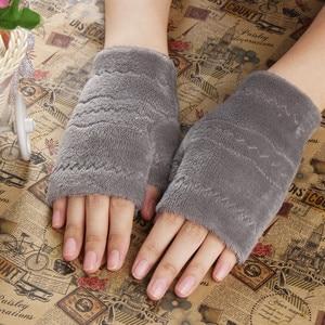 Women Fingerless Gloves Thick Warmth polar fleece Winter Autumn Thick Warm Gloves Keyboard Leak Finger Gloves handschoenen 2020(China)