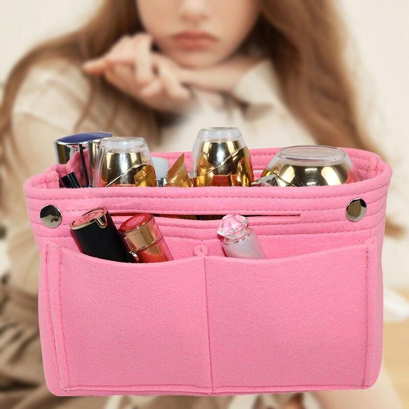 Felt Insert Purse Organizer Handbag Foldable Cosmetic Travel Bag For Women  Best Sale-WT