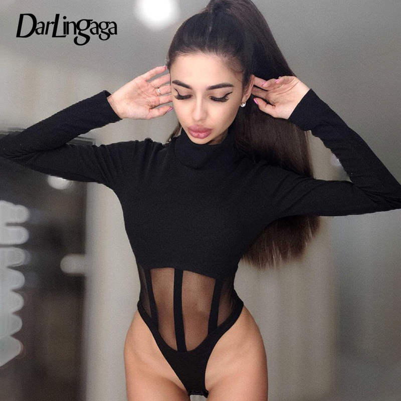Darlingaga Mesh Patchwork Skinny Long Sleeve Bodysuit See Through Female Body 2020 Spring Sexy Bodysuits Party Bodycon Jumpsuit