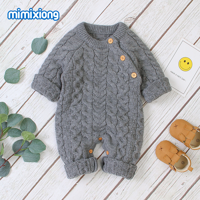 mimixiong Baby Footies Knit Romper Jumpsuit Long Sleeve Outwear Outfits