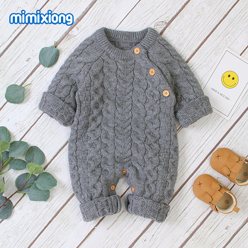 Baby Rompers Knitted Clothes Winter Thick Warm Newborn Boys Girls Jumpsuits Long Sleeve Toddler Infant Outfits Children Sweaters newborn winter baby rompers girls windproof rompers children warm outdoor rompers kids jumpsuits