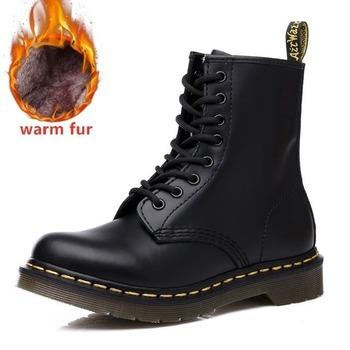 Męskie buty oprzyrządowanie buty zimowe ciepłe Martin buty buty dla par 2020 nowe modne skórzane buty motocyklowe antypoślizgowe buty tanie i dobre opinie okkdey CN (pochodzenie) Prawdziwej skóry ANKLE Stałe Dla dorosłych Okrągły nosek RUBBER Zima Niska (1 cm-3 cm) ML-1460