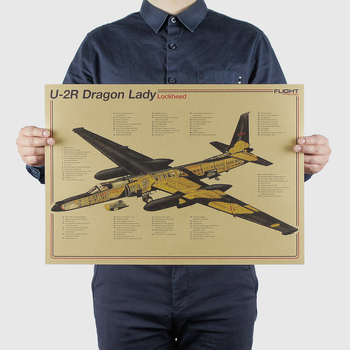 AIMEER Fighter series U-2R Dragon Lady high altitude reconnaissance aircraft retro kraft paper poster decor wall stickers51*36cm image