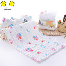 6 Layer 25*45CM Soft Muslin 100% Cotton Baby Cute Cartoon Newborn Bath Towel Infant Bath Muslin Face Washing Towel(China)