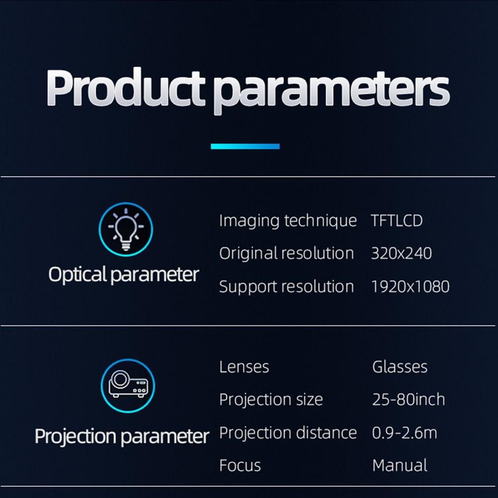 814 mini mini projetor de entretenimento em casa portátil suporta 1080p 4k hd conexão do telefone móvel projetor-2